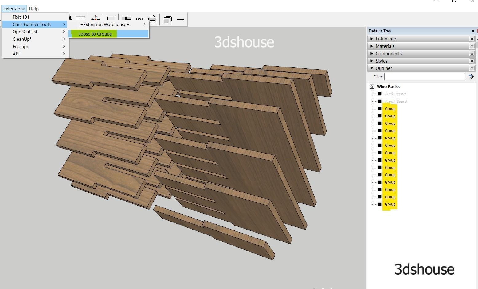 Tạo group từ các hình khối rời với Loose To Groups Plugin Sketchup