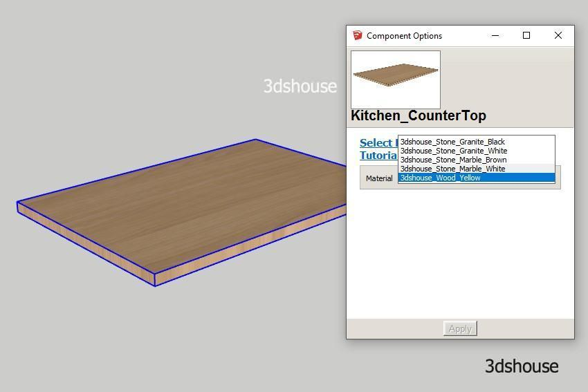 Select From List Dynamic Sketchup Option