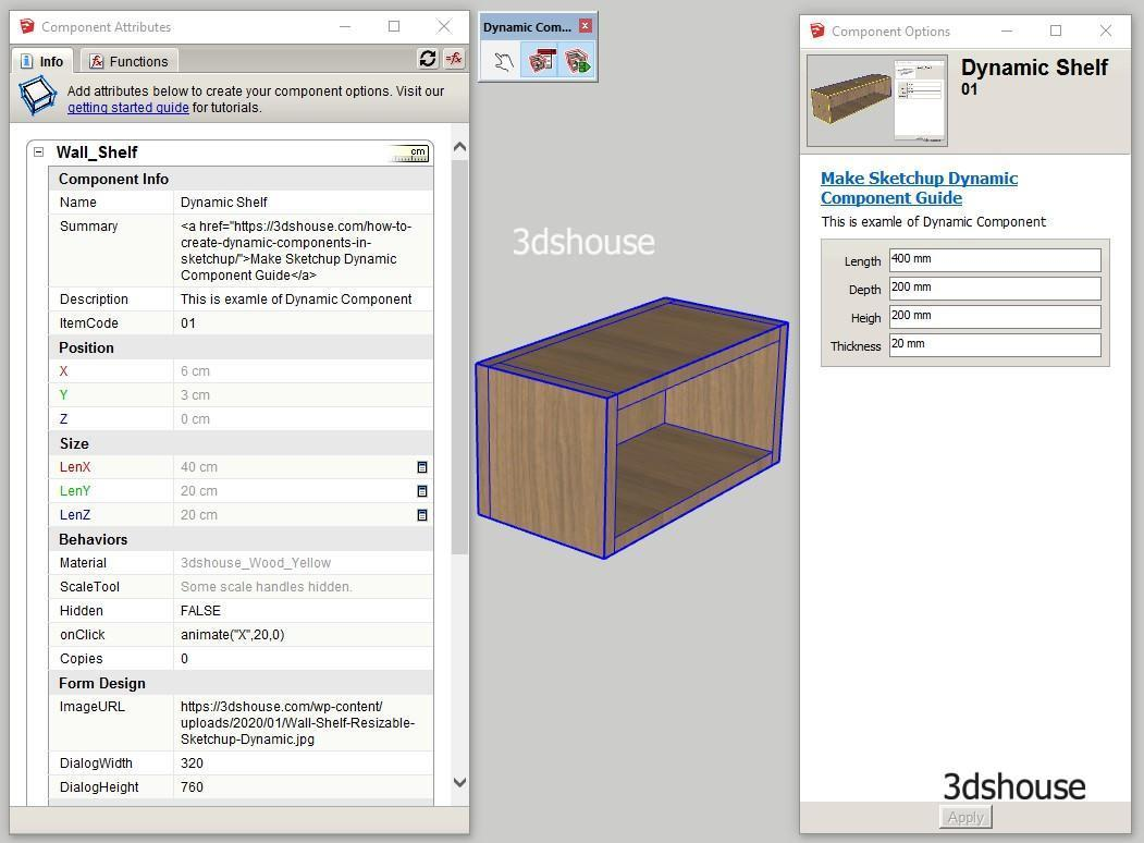 Sketchup Dynamic Component Attributes Setting