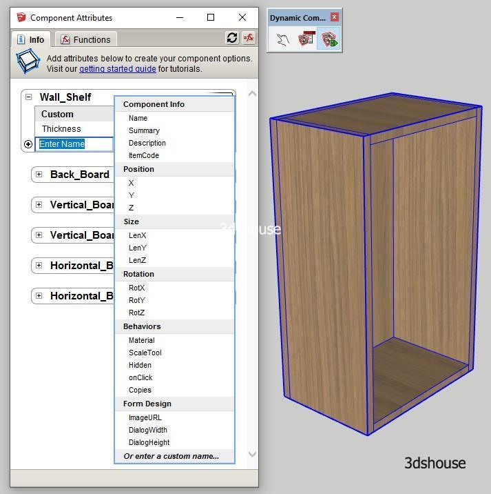 Sketchup Dynamic Component Attributes