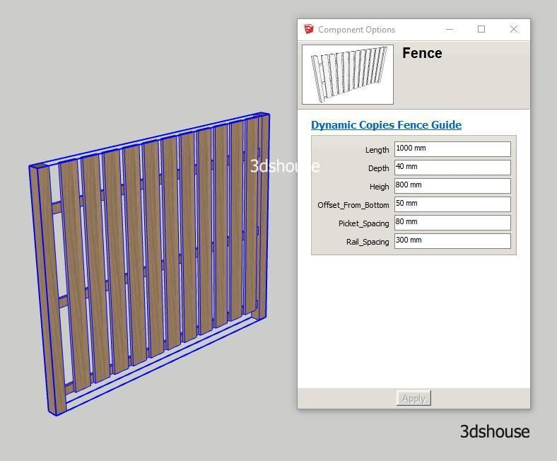 Sketchup Dynamic Component Copies Fence Example