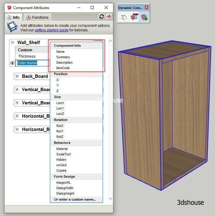 Sketchup Dynamic Component Info Attributes