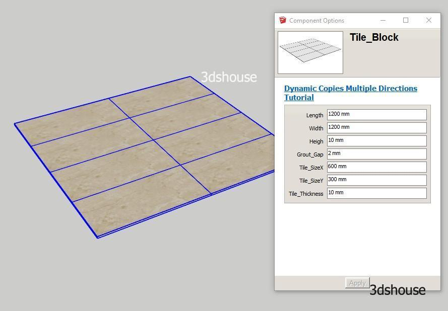 Sketchup Dynamic Copies in multiple directions Tile example