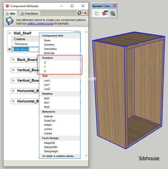Sketchup Dynamic Position Attributes