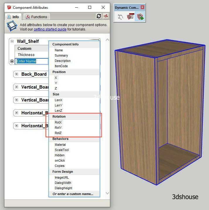 Sketchup Dynamic Rotation Attributes