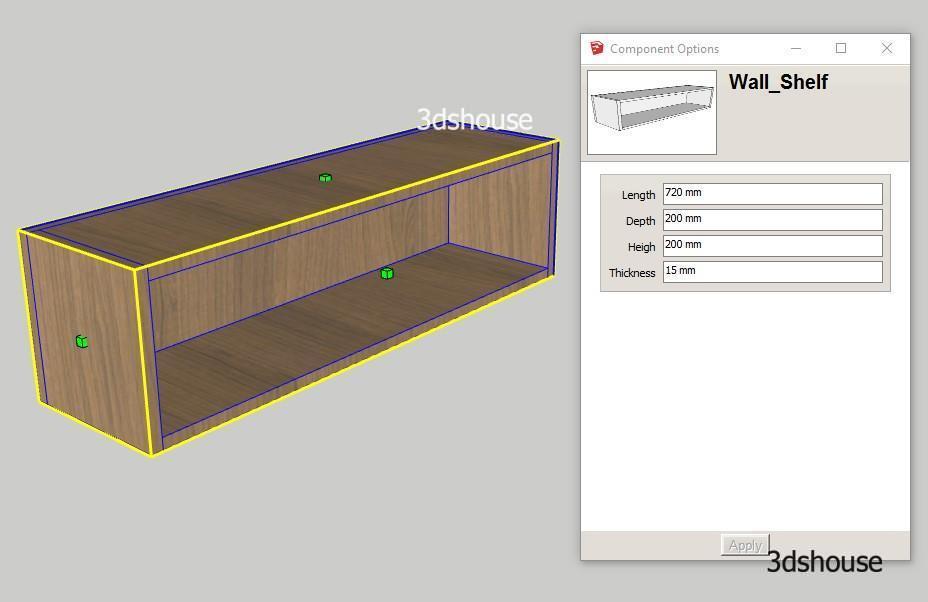 Wall Shelf Resizable Sketchup Dynamic